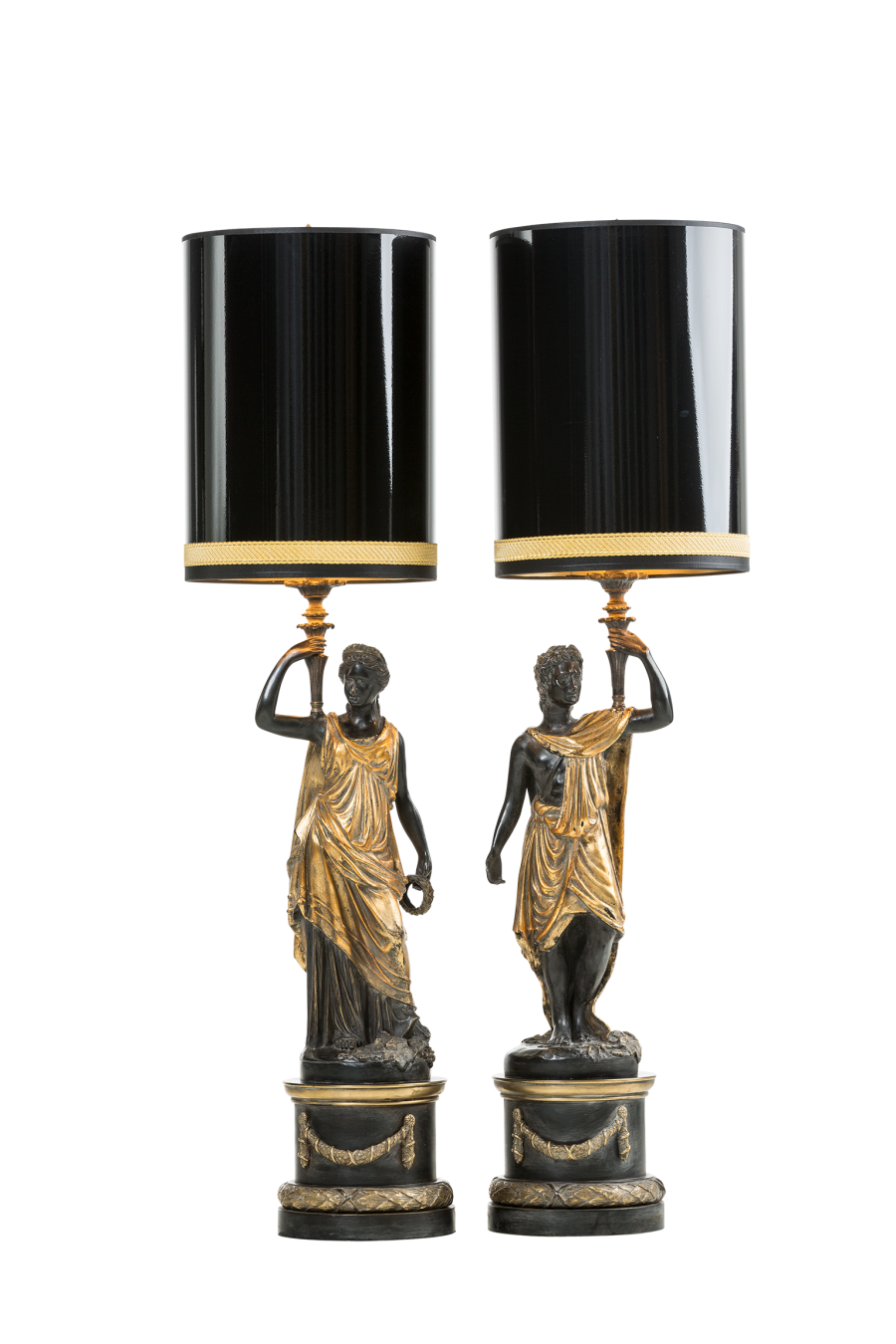 Table lamp standing Man and Woman with torch